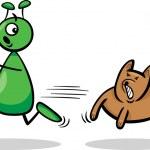 Alien and dog cartoon illustration — Stock Vector #26896315