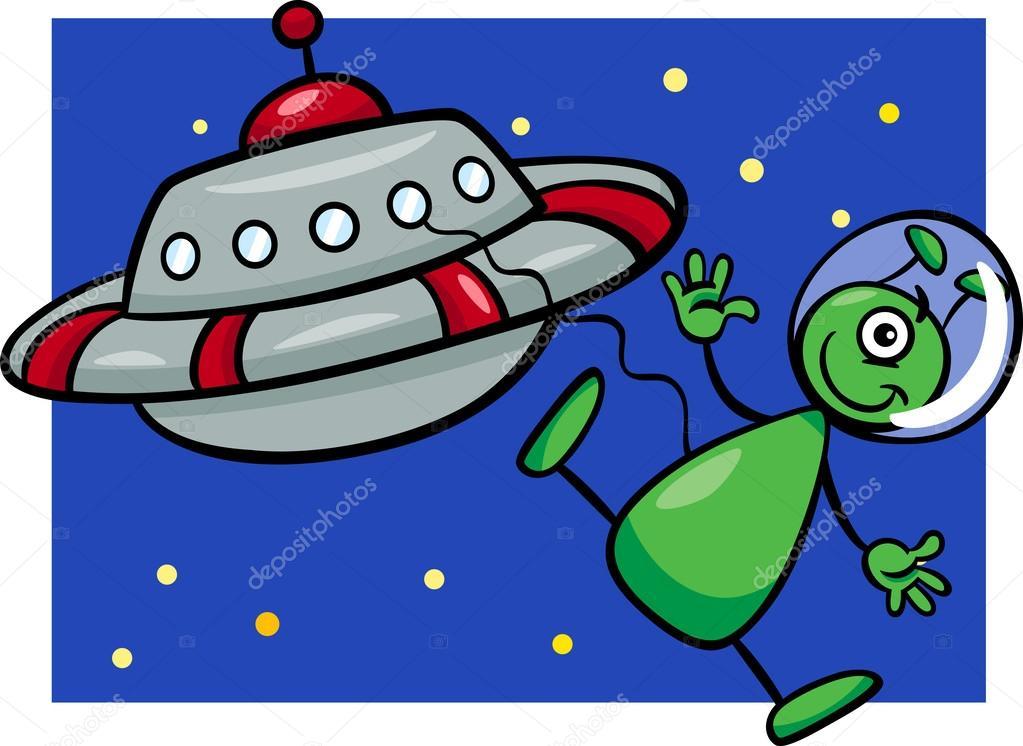 Alien con ilustración de dibujos animados ovni — vector