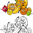 Cartoon citrus fruits for coloring book — Stock Vector #26954367