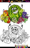 Groupe fruits dessin animé pour cahier de coloriage — Vecteur
