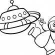 Alien with ufo for coloring book — Stock Vector #27006155