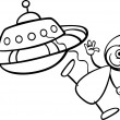 Stock Vector: Alien with ufo for coloring book