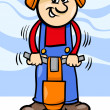 Worker with pneumatic hammer cartoon — Stockvector #27296627