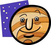 Komik jüpiter gezegeni karikatür çizimi — Stok Vektör