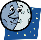 Funny moon cartoon illustration — Stock Vector