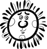 Sun cartoon illustration coloring page — Stock Vector