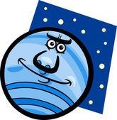 забавные иллюстрации шаржа планета нептун — Cтоковый вектор