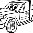 Pickup car cartoon coloring page — Stock Vector