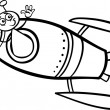 Stock Vector: Alien in rocket cartoon coloring page