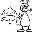 Alien with ufo for coloring book — Stock Vector #27577055