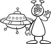 Alien with ufo for coloring book — Stock Vector