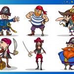 Pirates Cartoon Characters Set — Stock Vector