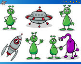 Aliens or Martians Cartoon Characters Set — Stock Vector