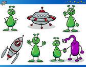 Aliens or Martians Cartoon Characters Set — Stock Vector