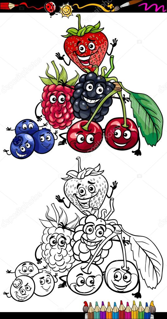 Cartone animato di frutti bosco per libro da colorare