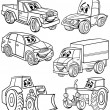 Cartoon vehicles set for coloring book — Stockvektor