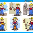 Manual workers or workmen characters set — Stock Vector