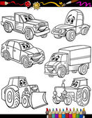 Dibujos animados vehículos establecido para colorear libro — Vector de stock