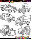 Véhicules de cartoon fixé pour cahier de coloriage — Vecteur