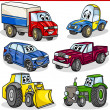Funny cartoon vehicles and cars set — Imagen vectorial
