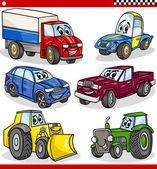Conjunto de vehículos y coches divertidos dibujos animados — Vector de stock