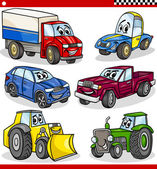 Funny cartoon vehicles and cars set — Vector de stock