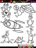 Aliens Cartoon Set for coloring book — Stock Vector