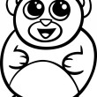 Cartoon kawaii bear coloring page — Stock Vector