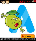 Letter a with apple cartoon illustration — Stock Vector