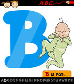 Letter b with baby cartoon illustration — Stock Vector