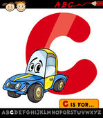 Letter c with car cartoon illustration — Stock Vector