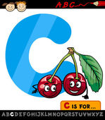Letter c with cherry cartoon illustration — Stock Vector