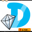 Letter d with diamond cartoon illustration — Векторная иллюстрация