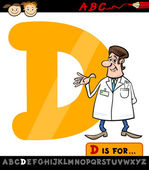 Letter d with doctor cartoon illustration — Stock Vector