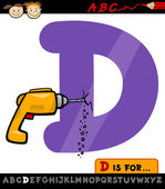 Letter d with drill cartoon illustration — Stock Vector