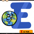Letter e with earth cartoon illustration — Stock Vector
