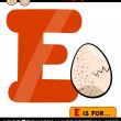 Letter e with egg cartoon illustration — Stock Vector