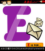 Letter e with envelope cartoon illustration — Stock Vector