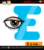 Letter e with eye cartoon illustration — Stock Vector