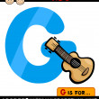 Letter g with guitar cartoon illustration — Stock Vector