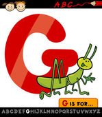 Letter g with grasshopper cartoon illustration — Stock Vector