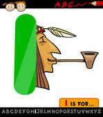 Letra i con la ilustración de la india de la historieta — Vector de stock