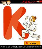 Letter k with karate cartoon illustration — Stock Vector