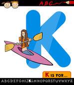 Letter k with kayak cartoon illustration — Stock Vector