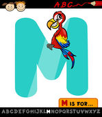 Letter m with macaw cartoon illustration — Stock Vector