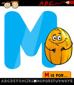 Letter m with melon cartoon illustration — Stock Vector