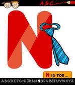 Letter n with necktie cartoon illustration — Stock Vector