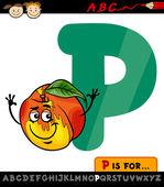 Letter p with peach cartoon illustration — Stock Vector