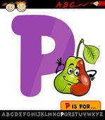 Letter p with pear cartoon illustration — Stock Vector