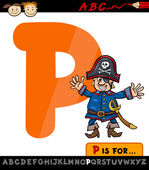 Letter p with pirate cartoon illustration — Stock Vector